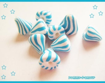♥ 9 charms berlingots ♥ polymer clay Fimo beads