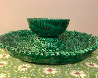 Vintage Green Hand-Painted Holly Berry Appetizer Serving Set