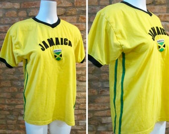 Vintage T-Shirt • 80s Jamaica Shirt • Large 80s V Neck T Shirt • Vintage Jamaican Flag Shirt • Caribbean Rasta Shirt • Striped Ringer Shirt