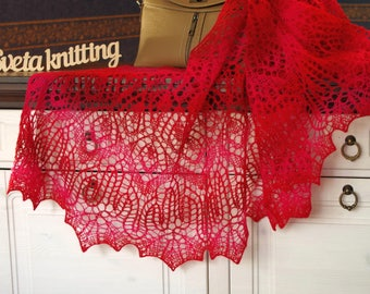 Womans lace shawl Hand knitted shawl wool hand knitted lace shawl red shawl, lace shawl, knitted wrap gift for her shawl