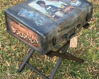 SOLD-Accepting Custom Orders- Vintage Suitcase Table Industrial Nightstand Steampunk Furniture Urban Grunge Industrial Bedside Table Old