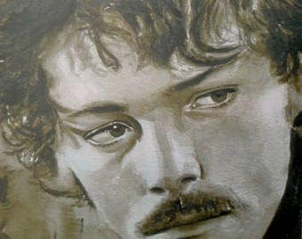Poster of Patrick Dewaere, french actor, abstract art in sepia watercolor portrait