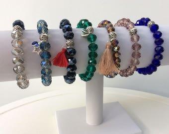 Crystal glass bead bracelet, crystal bracelet, tassel bracelet, stacking bracelet, bead bracelet, boho bracelet