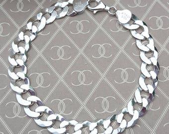 Men's Sterling Silver 9mm Curb Bracelet 8″ (15 grams)