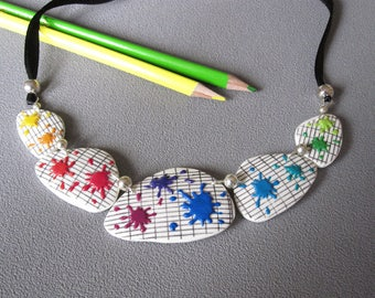 Back to school necklace, necklace mistress, school notebook, multicolored spots rainbow, polymer clay, teacher jewel, teacher gift