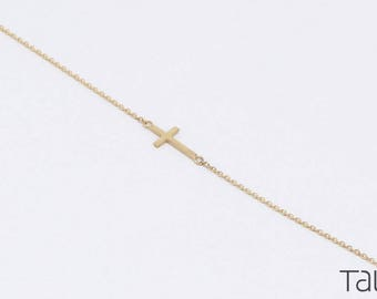 Gold Cross Bracelet, 14k Solid Gold, Simple Cross Bracelet, Everyday Jewelry, Gold Chain Bracelet, Sideways Cross Bracelet, Baptism Gift