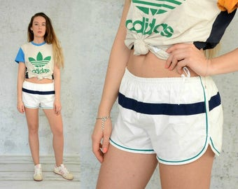 St. MIchael vintage Sport shorts running white blue High waisted hipster jogging M-L size