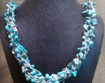 SALE 22 inch turquoise viking knit necklace