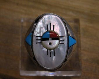 Vintage Inlay Sterling Silver Men's Ring Size 10.75
