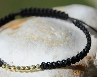 shamballa bracelet with Golden plated silver bead