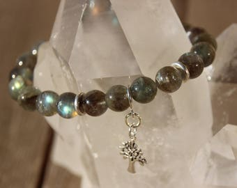 labradorite tree of life charm bracelet