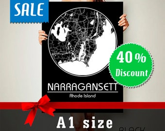 40% off Narragansett Rhode Island CANVAS Map A1 size Sale Narragansett Rhode Island Poster City Map Art Print Map of Narragansett RI Sale