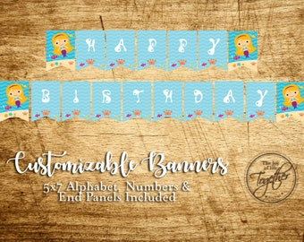 Splash Mermaid Birthday Party Customizable Banner