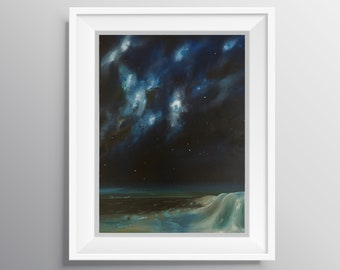 In Your Spiral Arms - Physical Print of Milky Way Stars and Clouds Over Sand Dunes Painting (Multiple Sizes)