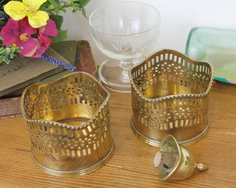Vintage Brass Wine Bottle Holder/Vintage Bottle Coasters/Pair Brass Bottle Holders/Barware (Ref1962Q)