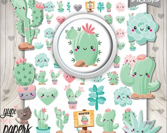 50%OFF - Cactus Stickers, Planner Stickers, Printable Planner Stickers, Succulent Stickers, Cute Stickers, Planner Accessories, Stickers