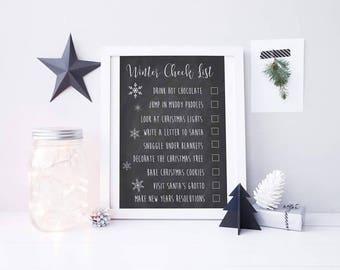 Winter Check List - Winter To Do List - Christmas Print