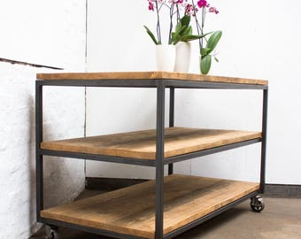 Charlie Bespoke Reclaimed Scaffolding Boards and Welded Dark Steel Box Section Framed Table with Shelves and Braked Vintage Castors