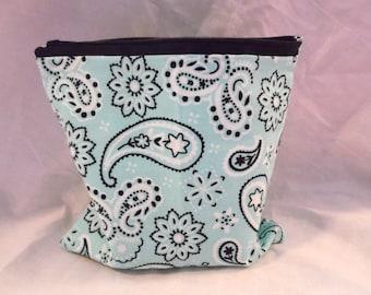 Blue Paisley Cosmetic bag