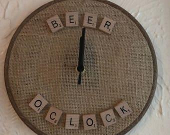 Scrabble letter clock - beer oclock