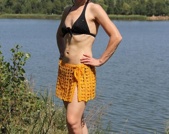 Beach skirt  FREE shipping crochet beach skirt Crochet  summer skirt yellow pareo crochet skirt