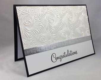 Handmade hand stamped Congratulations card wedding bridal shower