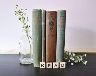 Vintage Green Book Set - Antique Book Set - Decorative Book Set, Decorative Books, Book Decor, Book Styling, Vintage, Bohemian, Boho
