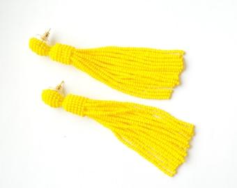 Tassel earrings Yellow earrings Long earrings Oscar de la renta Beaded earrings Summer outdoors Black earrings Blue earrings summer party