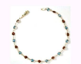 14k Gold Topaz & Garnet Bracelet   B106