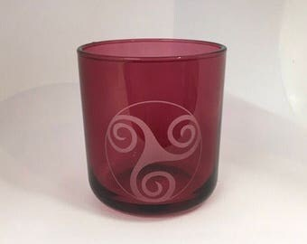 Celtic Knot Design - Sandblast Glass / Candle Holder