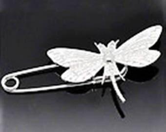 6 Silver Dragonfly brooch, 9x3cm