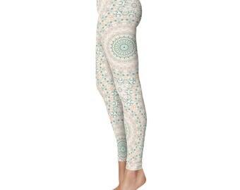 Unique Mandala Tights - Stretchy Yoga Pants, Sea Foam Green and Peach Printed Art Leggings