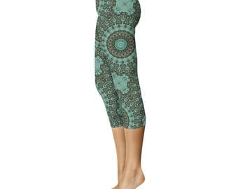 Capri Leggings - Emerald Mandala Art Leggings, Dark Green Leggings, Printed Yoga Pants