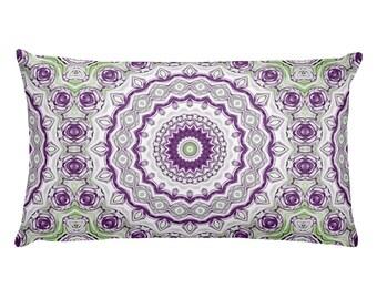 Funky Pillows, Purple and Green Mandala Pillows, 20x12 Lumbar Pillows, Wild Rectangle Cushion