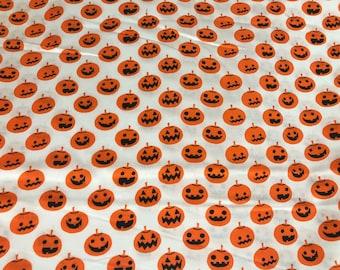 Orange pumpkin Jack o lantern Halloween fabric, pumpkin fabric, Halloween fabric