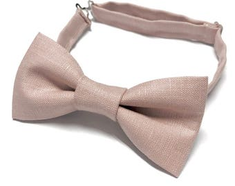 Dusty Rose Bow tie, Dusty Pink Bow tie, Linen Bow tie, Pink Linen Bow tie, Rose Bow tie, Dusty Rose Bowtie, Pink Bowtie, Wedding Bowtie