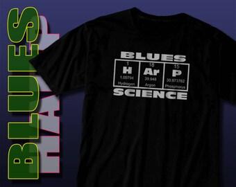Music Tee Shirt, Gifts for Musicians, Blues Harp Science Shirt, Harp shirt, Little Walter Harmonica Tee, Geek Nerd Tshirt