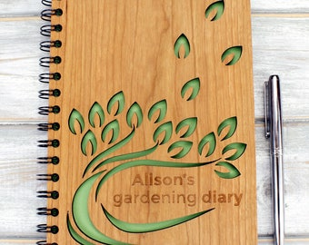 Personalised Wooden A5 Gardening Note Book, Journal, Planner - Leaf Design