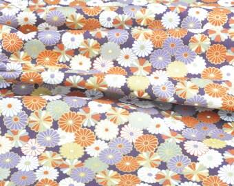 """Pretty fabric Japponais """"flower"""" cotton (50cm x 110cm)"""