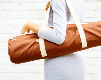 Brown yoga mat bag with pocket / Choco Foyo / free shipping