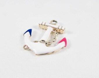 BVV52 - charm pendant black white red gold blue enamel anchor