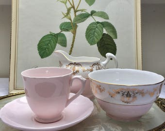 Perfectly Pretty Baby Pink Vintage Tuscan Demitasse Cup & Saucer