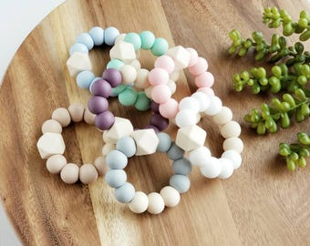 The Chill Teether-Mini Baby Teething Toy - Silicone Baby Teether - Baby Gift, Teething Toy- Silicone Teether with Chew Beads 7 Color Options