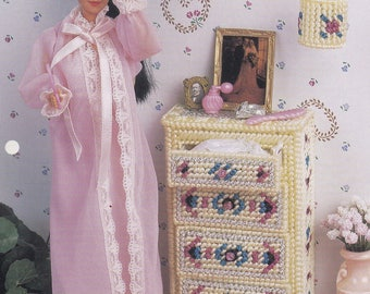 Boudoir Décor, Annie's Attic Fashion Doll Plastic Canvas Pattern Club Leaflet FP15-03