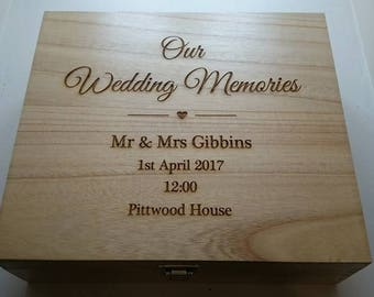 Wedding memories personalised engraved rustic vintage wooden gift card box Mr Mrs mother father parents of the bride groom