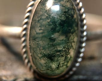 Vintage Sterling Silver/ Green Moss Ring    #279