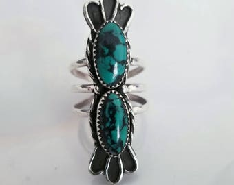 Natural large oval shaped Turquoise Double Stone Sterling Silver Ring- Size 5, 5.5, 6, 6.5, 7, 7.5, 8, 8.5, 9, 9.5- Boho Chic