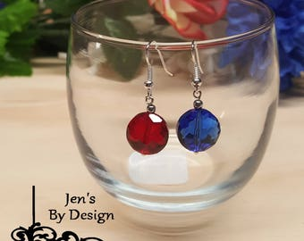 4th of July patriotic themed crystal beaded earrings