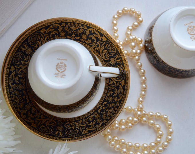 "Featured listing image: Minton Porcelain ""Grandee"" two tea cups and matching saucers"