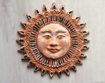 Tribal ceramic sun wall decor